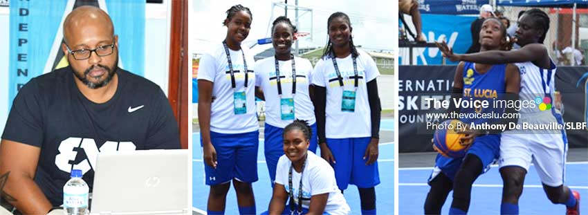 Image: (L-R) SLBF President Leslie Collymore; Team Saint Lucia's 3x3 female team; Saint Lucia's Ramani Lewis–Emmanuel (#6) in action against Trinidad and Tobago. (PHOTO: Anthony De Beauville/SLBF)