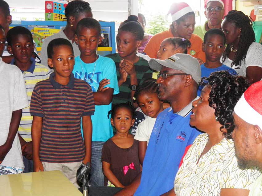 Image: School students during the Toy Drive to Dominica.