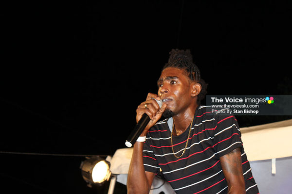 Image of Ambi performing 'Sock It Already' at Soca Countdown at Derek Walcott Square in June last year. [PHOTO -- Stan Bishop]