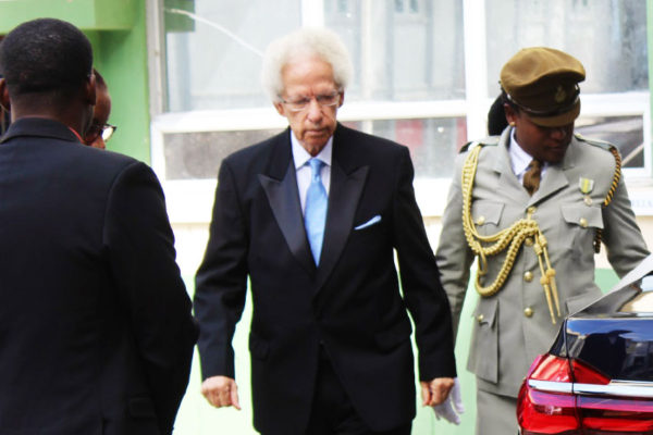 Image of Emmanuel Neville Cenac on his way to parliament yesterday to take the Path of Allegiance and the Oath of Office. (PHOTO: PhotoMike)