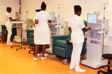 Image of Nurses undergoing training in the new dialysis equipment at Owen King-EU Hospital this week.