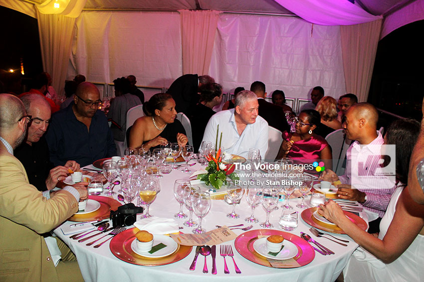 Image of Prime Minister Allen Chastanet joining other guests at the Celebrity Chef Dinner. [PHOTO: Stan Bishop]