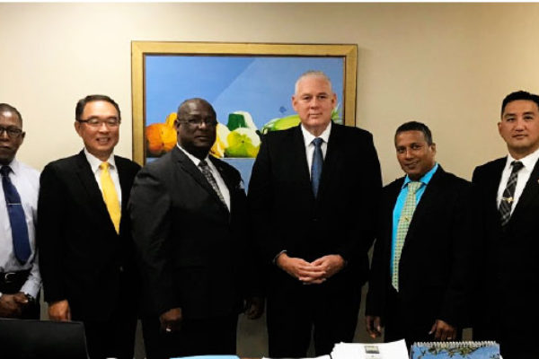 Image of Taiwan Ambassador H.E. Douglas Shen together with OECC delegation call on Prime Minister Allen Chastanet, Stephenson King and Guy Joseph at Prime Minister Office.