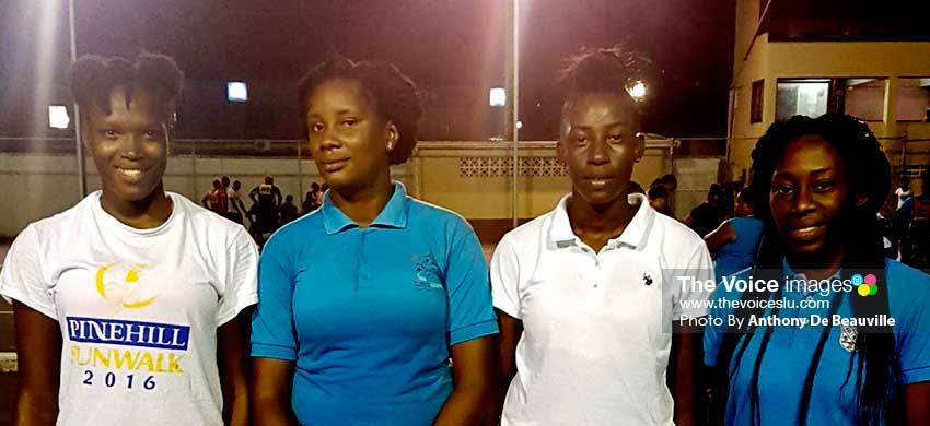 Image: (L-R) The four senior national debutants -- Dasha Eugene, EverlouLinor, Tamara Samuel and Verne Alexander -- took time out for a photo moment at Monday evening's training session. (PHOTO: Anthony De Beauville)