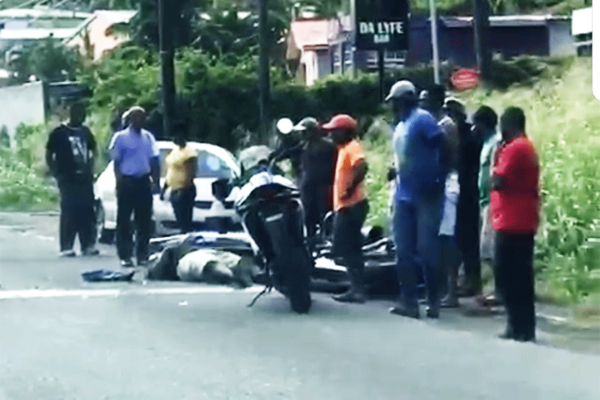 Image of motorcyclist injured after collision with van