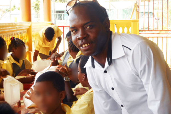 Image of Serieux with students of the Vieux Fort Special Education Centre.
