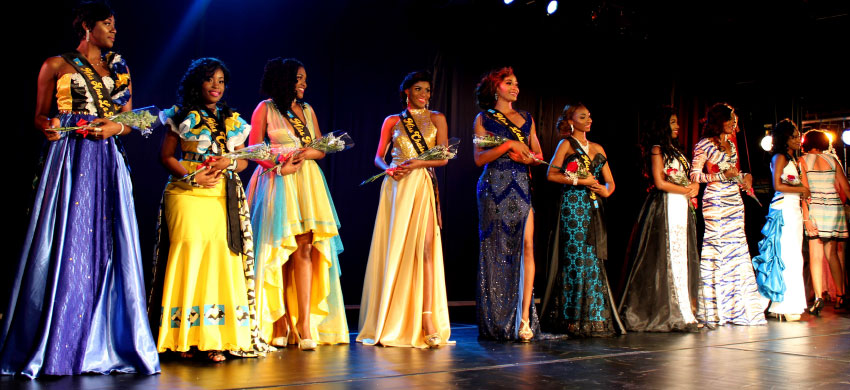 Image of the nine contestants in their evening wear.