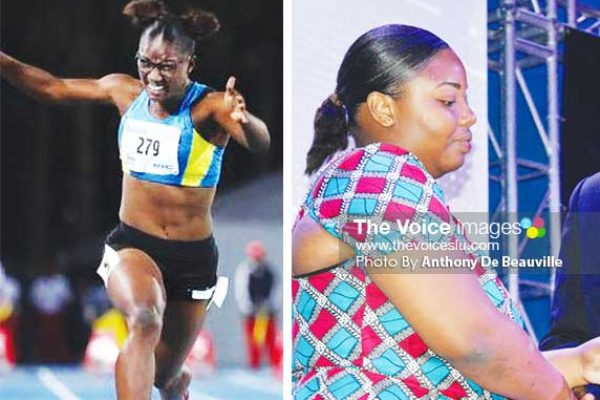 (L-R) Julien Alfred winning the 100 metres at the CYG in the Bahamas; sister Juliana Hamilton receiving the Sportswoman of the Year title on her behalf from Sports Minister Edmund Estaphane. (PHOTO: CYG/Anthony De Beauville)
