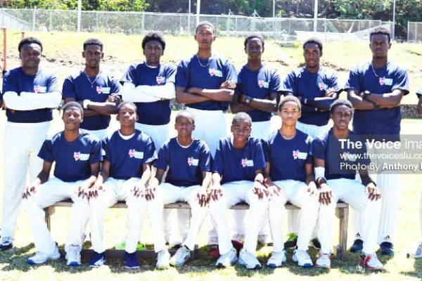 Image: Central Castries team minutes before their encounter against Gros Islet. (PHOTO: Anthony De Beauville)