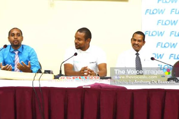 Image: (L-R) Nyus Alfred (SPL T20 Media Communication Officer), Hasan Eristhee (CEO SPL T20), Terry Finisterre (Flow Communication), Roger Joseph (LUCELEC Corporate Manager for Communication) and Nikisha Rabess (Marketing Officer for Bay Gardens Hotel). (PHOTO: Anthony De Beauville)