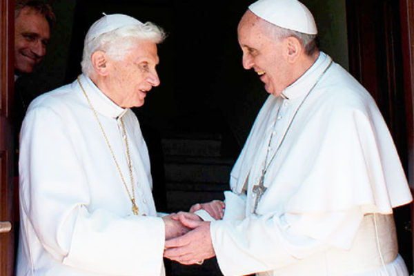 Image of Pope Benedict (left) and Pope Francis I
