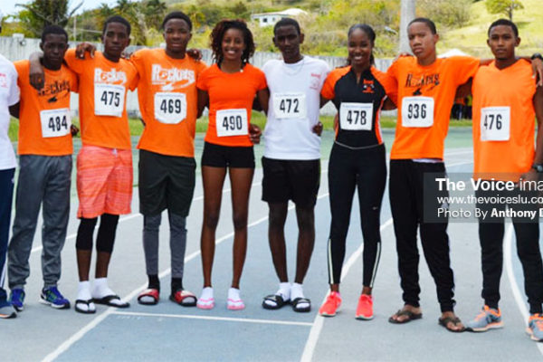Image: Rockets (L-R) Head Coach - Martial Charlery, Garvin Gills, Asa Donnelly, Devon Alexander, KamillahMonroque, Miguel Charlery, Shania Glasgow, Peter Lansiquot, Ange Fontenelle and assistant coach – Cuthbert Popo. (PHOTO: Anthony De Beauville)