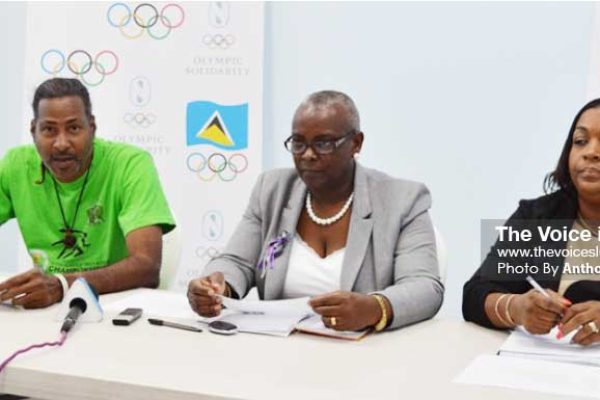 Image: (L-R) Ryan O' Brien (SLOC Communication Officer), Fortuna Belrose (SLOC President/ Commonwealth Games Federation Regional Vice President) and Liota Charlemagne - Mason (SLOC Member) at Wednesday press conference (Photo: Anthony De Beauville)