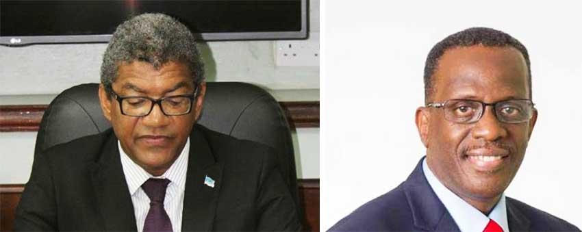 Image: MINISTER for Commerce, Industry, Enterprise Development and Consumer Affairs, Bradley Felix & Opposition Leader Phillip J. Pierre