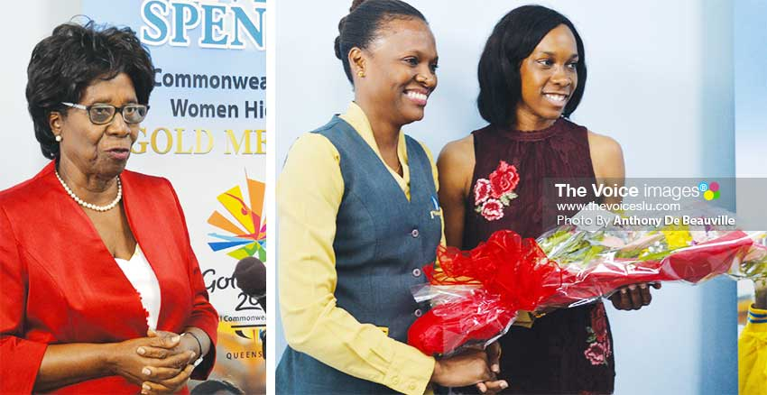 Image: (L-R) Former Governor General Dame PearletteLouisy an avid fan of Levern Spencer ; Cherry Anne Plumber Marketing Officer of 1st National Bank presenting Levern Spencer with a bouquet of flowers. (PHOTO: Anthony De Beauville)