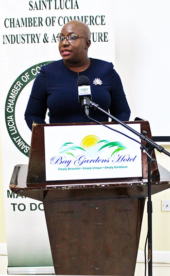 Image of Minister Dr. Gale T. Rigobert at the Chamber