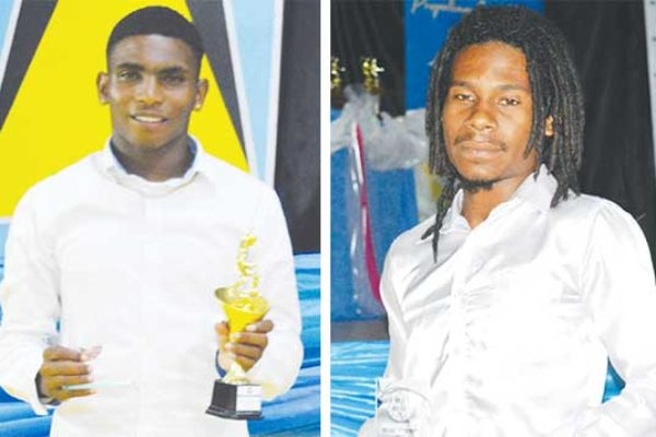 Image: Gabriel Biscette (Youth Player of the Year), Selwyn Boyce (Under 23 Best Striker), Caster James (Senior Best Goalkeeper). (PHOTO: Anthony De Beauville)