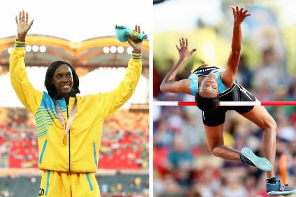 Image: Commonwealth Games 2018 – Levern Spencer A2/ A1 - Levern Spencer of Saint Lucia competes in the Women's High Jump final; Gold medalist Levern Spencer of Saint Lucia celebrates during the medal ceremony for the Women's High Jump (Photo: Mark Metcalfe/Getty Images AsiaPac)