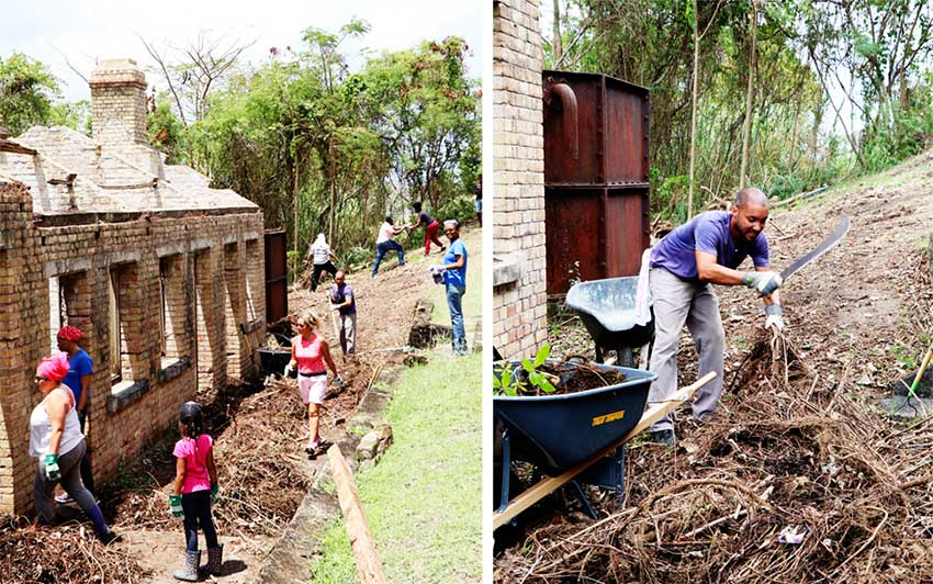 Image: (L-R)Staffers in the clean-up of the Married Women's Quarters at Vigie; Cuttingand piling vines and trees inside and outside the building