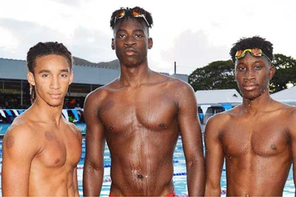 Image: (l-r) Seajays swimmers - Terrel Monplaisir, Omar Alexander, Devin Boodha and Marisa Louisy (Photo: Anthony De Beauville)