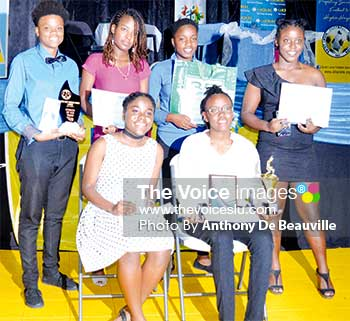 Image: (Back row l-r) Vangel Rosemain, Melissa Price, Vionce Weekes, Kennisha Joseph Rosemain (front row L-R) Melanie Richards and Thai Fowell. (PHOTO: Anthony De Beauville)