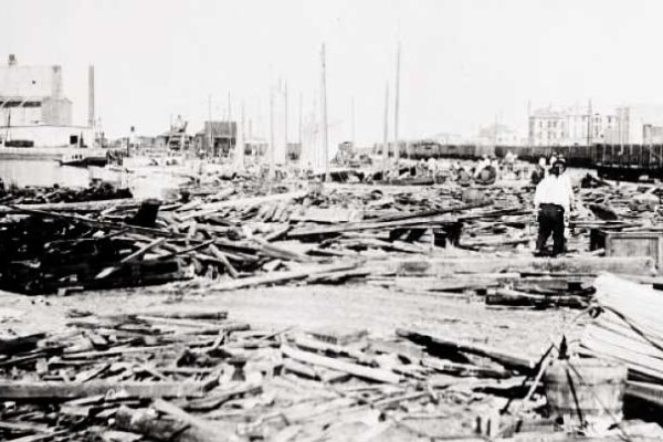 Image: A depiction of the ruins of Galveston after the passing of the hurricane in 1900. (Credit: Library of Congress)