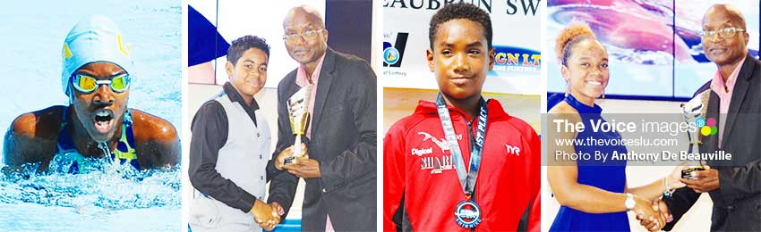 Image: (L-R) Naima Hazell Junior female swimmer of the Year, her brother Ethan Hazell receving award from PS Sports Donavan Williams, Antoine Destang Junior Male Swimmer of the Year, Mikaela Casimir receving award on his behalf from PS Sports Donovan Williams. (PHOTO: Anthony De Beauville)