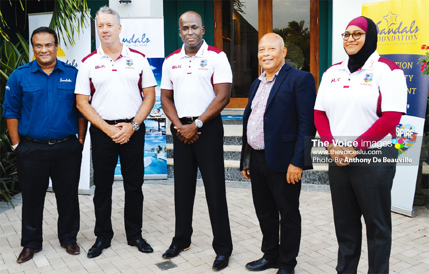 Image: Sunil Ramdeen - Sandals Regional Public Relations Manager, Stuart Law- CWI Team Coach -Rawl Lewis- CWI Team Manager, Sandals General Manager - Winston Anderson, CWI Media Officer Team Windies -Naasira Mohammed. (PHOTO: Anthony De Beauville)