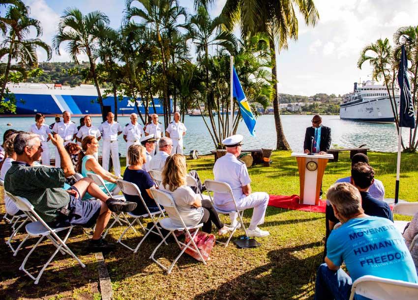 Image of the mayor addressing the designation ceremony.