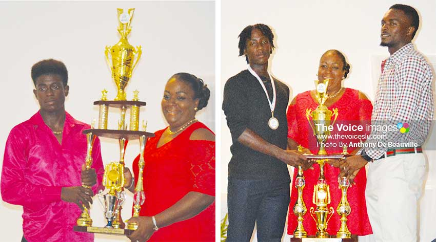 Image: (L-R) Grenada Team captain receiving the championship trophy from DPS, Liota Charlemagne - Mason; Saint Lucia and Saint Vincent and the Grenadines captain receiving the second place trophy (tie) from DPS, Liota Charlemange- Mason. (PHOTO: Anthony De Beauville)