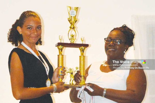 Image: Female basketball captain Matilda Angeloni receiving the second place trophy from Director of Youth, Mary Wilfred. (PHOTO: Anthony De Beauville)