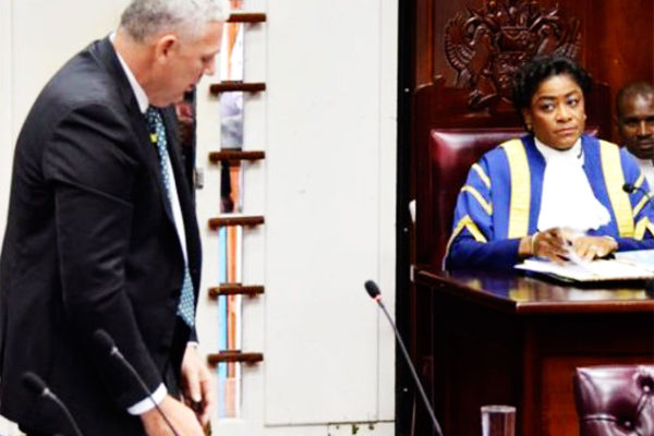 Image of Prime Minister Allen Chastanet addressing parliament