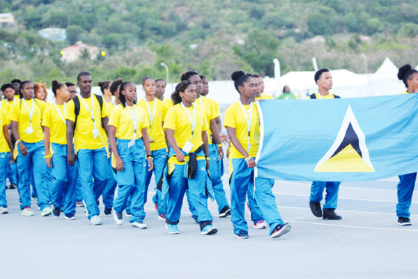 Image: Team Saint Lucia at the opening ceremony. (PHOTO: DP)