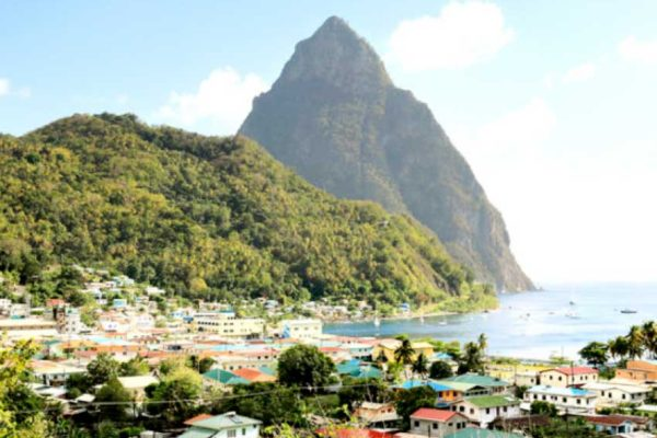 Image of the iconic Pitons in Saint Lucia's tourism capital, Soufriere.