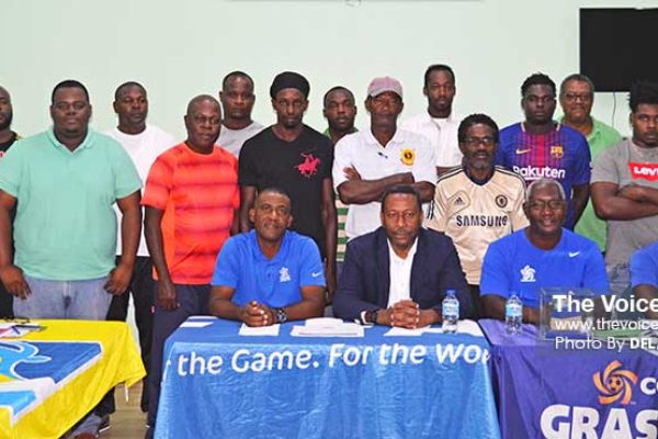 Image: Course participants, along with SLFA President Lyndon Cooper, CONCACAF Instructor Lenny Lake (Saint Kitts and Nevis) and facilitators Emmanuel Bellas and Solomon Alexander (Saint Lucia) at Friday morning official opening at the SLFA Headquarters (Photo: Anthony De Beauville)