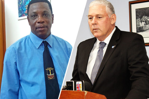 Image of Saint Lucia Teachers Union (SLTU) President, Julian Monrose & Prime Minister Allen Chastanet [PHOTO: PhotoMike]