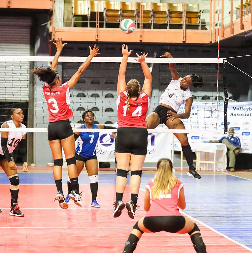Image: Saint Lucia's Lisa Casimir (No.4) goes airborne as she hit a powerful spike against Bermuda (Photo: ECVA)
