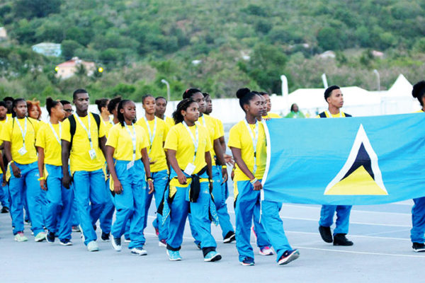 Image of Team Saint Lucia on parade at the opening ceremony of the Windward Islands Schools Games (Photo: DP)