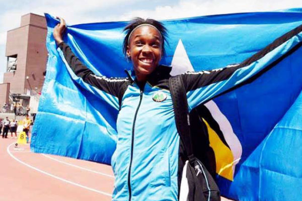 Image: High Jump Queen Levern Spencer just keeps on keeping Saint Lucia's flag flying high on the international sporting circuit. (Team SLU)