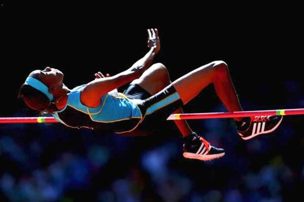 Image of Levern Spencer in the high jump (GETTY IMAGES)