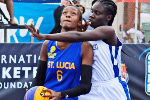 Some of the female action between Saint Lucia and Trinidad and Tobago during the hosting of the Antilles IBF 3X3 Under -18 Tournament at the Vigie Multipurpose Sports Complex (Photo: Anthony De Beauville)