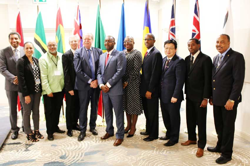 Image of OECS Director General, Dr.Didacus Jules (3rd from left) with delegates at last week's meeting here.