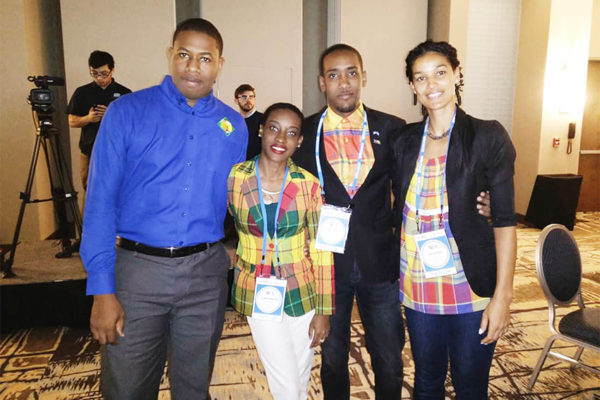 Image: Johanan Dujon, Founder and Managing Director of Algas Organics in Saint Lucia with fellow colleagues from Saint Lucia attending the 2018 YLAI Launch event.