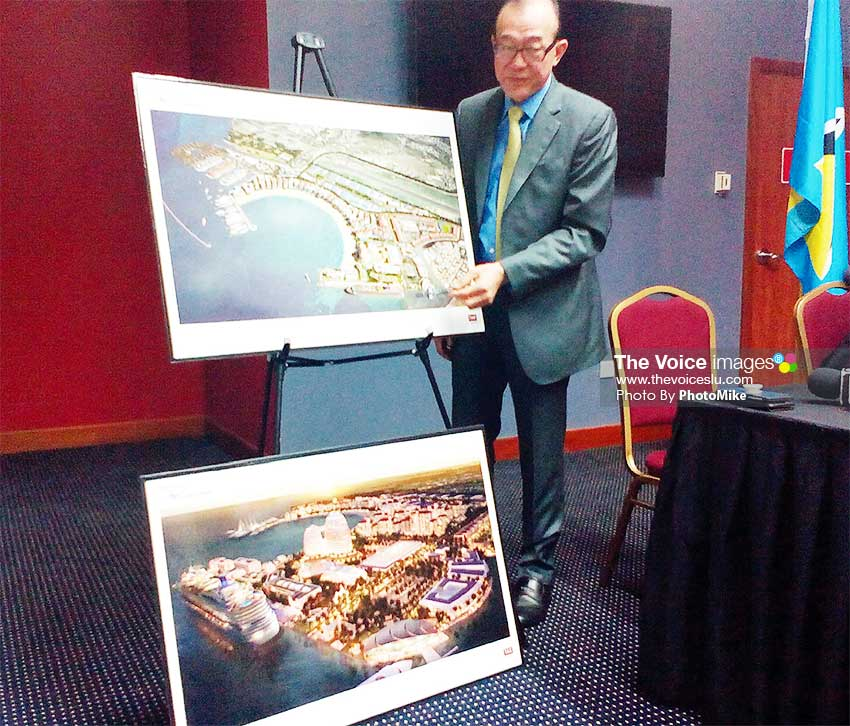 Image: Master Developer Teo Ah-khing showing what Vieux Fort will look like... if all goes well! (PHOTO: PhotoMike)