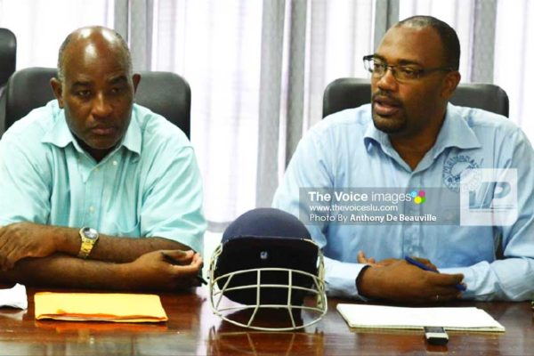 Image: (L-R) Director of Sports, Patrick Mathurin and SLNCA 1st Vice President, Shawn Alcindor. (PHOTO: Anthony De Beauville)