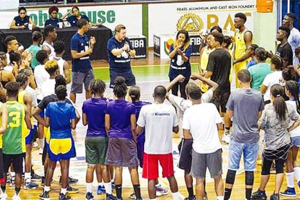 Image of tournament participants including Saint Lucia at the interactive basketball drills, leadership activities and discussions workshops. (Photo: SLBF)