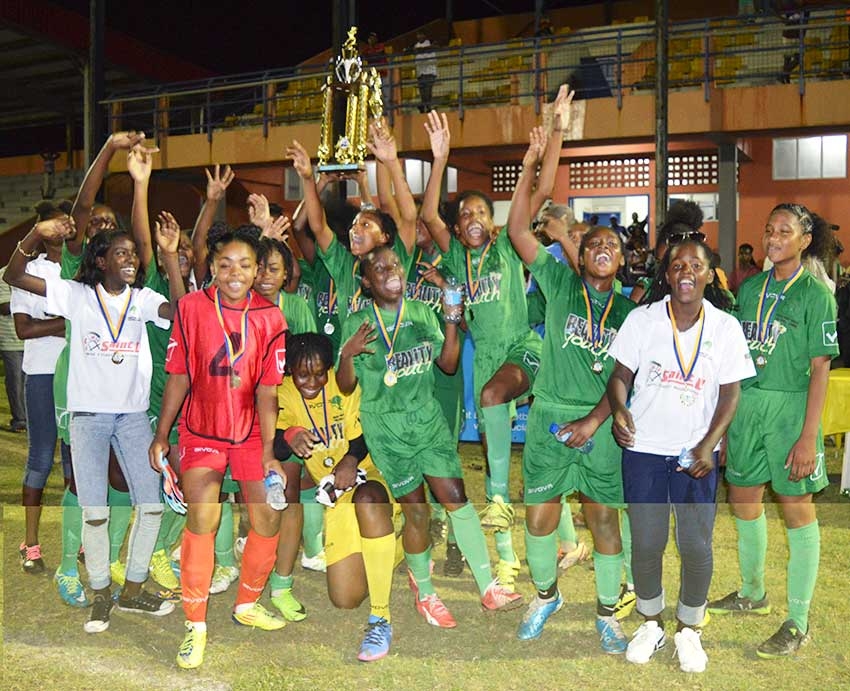 Image: Vieux Fort South Under-15 girls celebrate their SLFA championship victory under Jeffa's watch (Photo: VFS/Anthony De Beauville)
