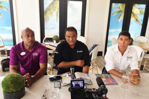 Image: Sandals' Barbados record was spelt out in full during a recent press conference in Bridgetown following a press tour of the group's two properties there. The Sandals team that met reporters included: Sandals Regional PR Manager Sunil Ramdeen (center) flanked by Regional Senior Project Manager Mark Harding (right) and Sandals Barbados Manager David Hinds.