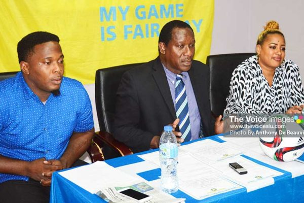 Image: (L-R) Shayne Paul - President GIFL, Lenard Montoute – Parliamentary Representative for Gros Islet and Marsha Smith - 2nd Vice President for female football (Photo: Anthony De Beauville)