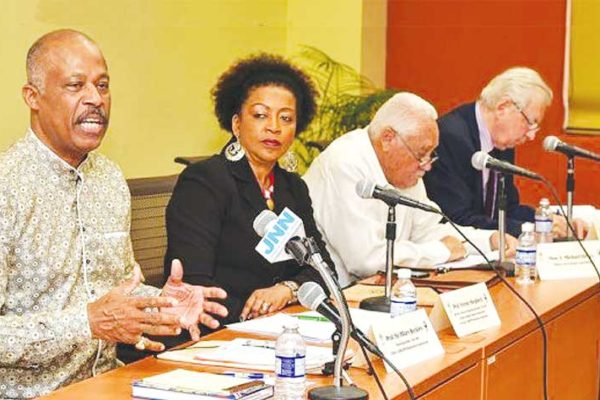 Image From left: Chairman of the CARICOM Reparations Commission (CRC) Sir Hilary Beckles; Director of the Center for Reparations Research at the UWI Professor Verene Shepherd; Jamaica's Minister of Transportation and Works Michael Henry and Lord Anthony Gifford, member of the Jamaica Reparations Committee.